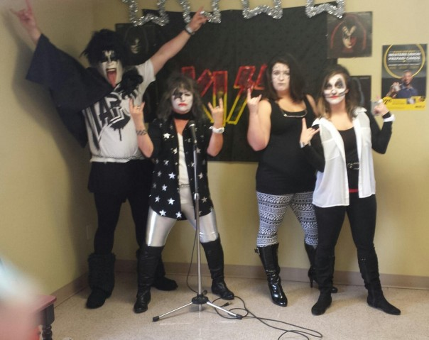 Kiss is performing live at Belmont! Pictured L to R: Shane (Deborah's son), Deborah Wood, Hope Newcomb, and Whitney Sanders