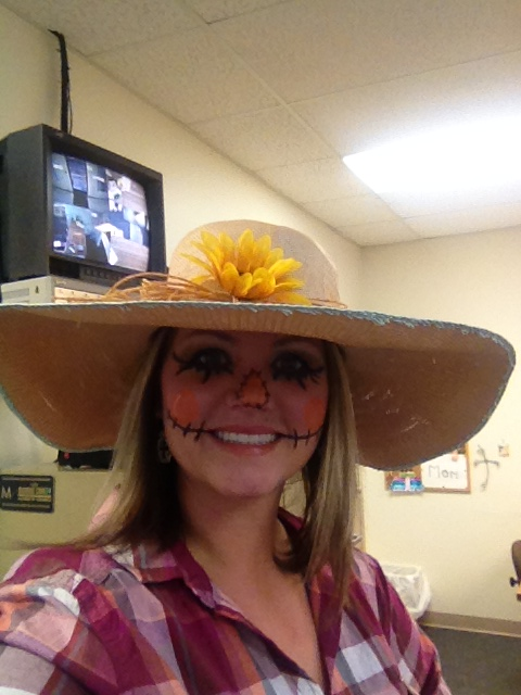 Crystal Dabbs makes a fine scarecrow!