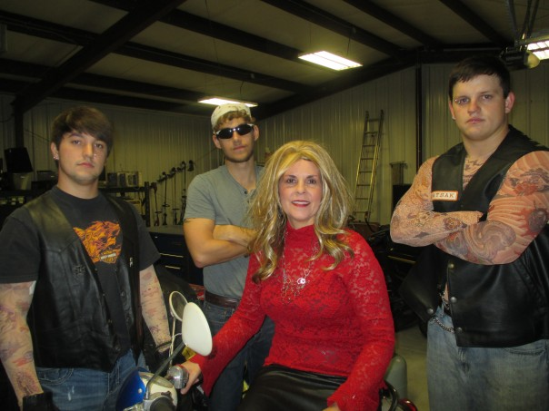Sons of Anarchy have taken over Simple Pawn!! Pictured L to R: Alex Bost, Justin Ling, Melissa Whitehead, and Austin Ramsey